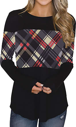 Dresswel Womens Long Sleeve Tops Plaid Patchwork Tunic Blouse Pullover Crew Neck T Shirt Jumpers Black