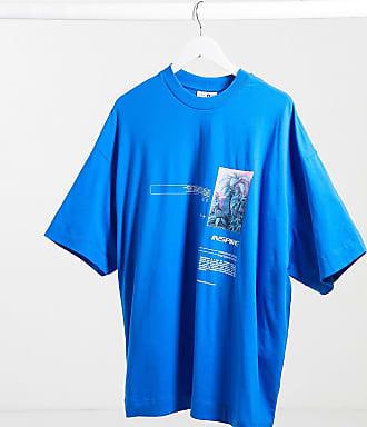 Collusion Blaues Oversize-T-Shirt mit Blumenmuster