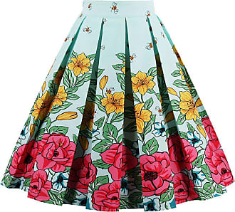 EUDOLAH Womens Vintage Floral Swing Full Circle Pleated Skirts BlueBeeL