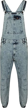 True Face Mens Denim Dungarees Overalls Bib Trousers Work Top Bottoms (Blue Wash, 2X-Large)