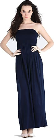New Women Ladies Strapless Boobtube Bandeau Sheering Gather Maxi Dress Size 8-22