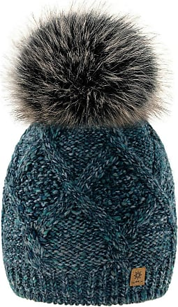 4sold Womens Ladies Chunky Soft Cable Knit Hat Faux Fur Pompom Cosy Fleece Liner Warm Natural Alpaca Wool (Green Stone)