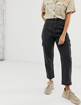 Weekday multi pocket jeans in washed black