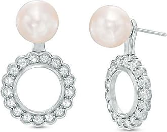 9fbac1359 Zales 8.0 - 8.5mm Cultured Freshwater Pearl and White Topaz Scallop Frame  Convertible Earrings in