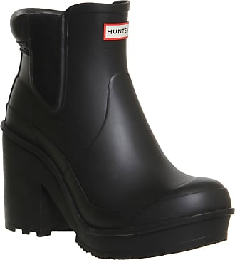 512500e76430 Hunter Womens Original Block Heel Chelsea Snow Waterproof Ankle Boots -  Black - 7