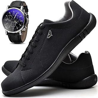 Juilli Kit Sapatênis Sapato Casual Masculino Com Relógio JUILLI 920DB Tamanho:44;cor:Preto;gênero:Masculino