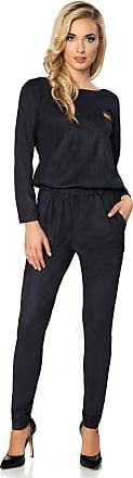 FUTURO FASHION Elegant Suede Long Sleeve Jumpsuit Adjustable Waist Cotton Playsuit Size 8-16 UK FT2836 Navy