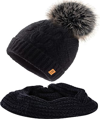 morefaz Set Scarf & Hat Mohair Wool Women Winter Beanie Hat Worm Knitted Hats Fleece Pom Pom (Set Scarf&Hat Black)