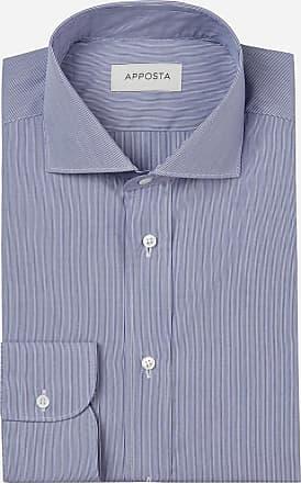 Apposta Camicia righe blu 100% puro cotone popeline, collo stile francese punte corte