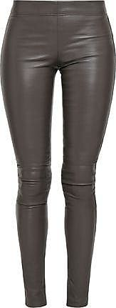 Joseph Joseph Woman Leather Leggings Dark Gray Size 32