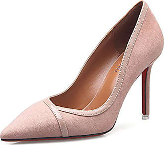 fcf0ff39ad Aisun Damen Elegant Pointed Toe Low-Cut Stiletto Ohne Verschluss Pumps Pink  34 EU