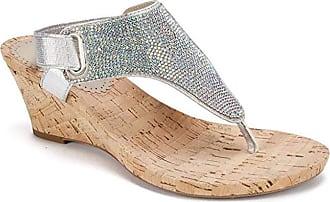 White Mountain White Mountain Womens AllDone Open Toe Casual, Silver Metallic/Glitter, Size 8.0 US / 6 UK US