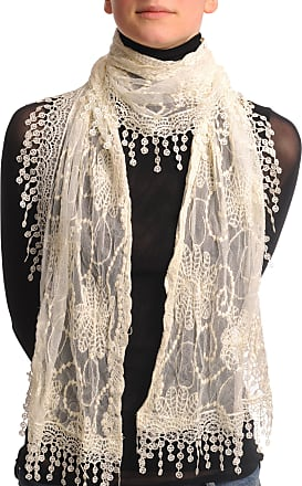 Liss Kiss Cream Vintage Lace With Flowers - Beige Designer Scarf