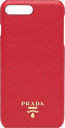 Prada iPhone 7 Plus Leather Cover - Vermelho