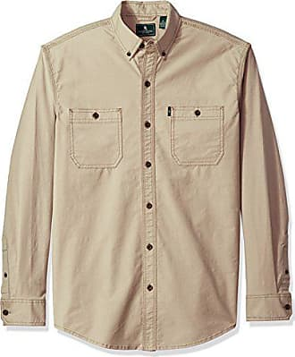 G.H. Bass & Co. Mens Summit Creek Long Sleeve Button Down Twill Shirt, Vintage Khaki, X-Large