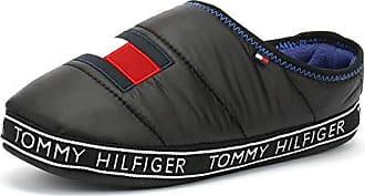 c831f036d96a4 Tommy Hilfiger Hausschuhe Applikation Schrift-Detail schwarz Größe 43 44