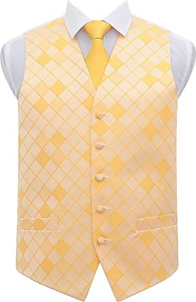 DQT Premium Woven Microfibre Diamond Patterned Sunflower Gold Mens Wedding Waistcoat with Matching 9cm Tie Necktie and Pocket Square Set - 44