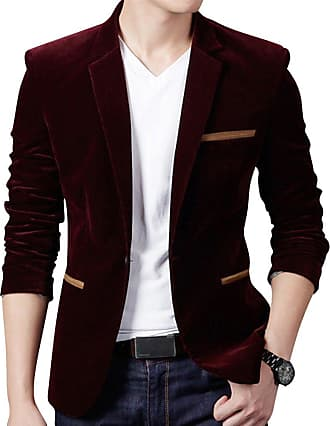 ZongSen Mens Slim Fit One Button Blazer Corduroy Coat Smart Velvet Dinner Suits Jacket Wine Red S