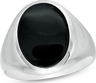 Zales Mens Oval Onyx Signet Ring in Sterling Silver