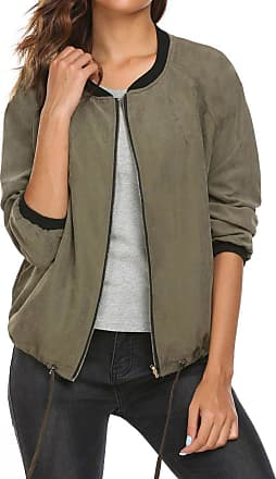 Zeagoo Womens Quilted Jacket Faux Suede Long Sleeve Stand Collar Zip up Short Bomber Coat Army Green