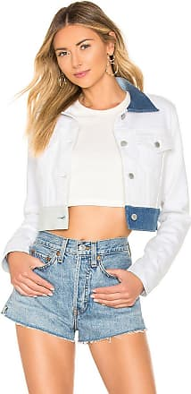 Hudson Cropped Trucker Jacket in White Ice