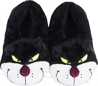 Disney Cinderella Lucifer The Cat Plush Womens Novelty 3D Slippers Black