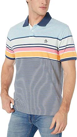 Original Penguin Mens Short Sleeve Polo Shirt, Sargasso Sea Engineered Stripe, XXL