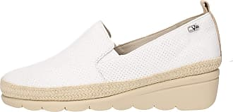 Valleverde V66185 Womens Summer Loafers Genuine Leather Microperforated White Wedge 4 cm White Size: 8.5 UK