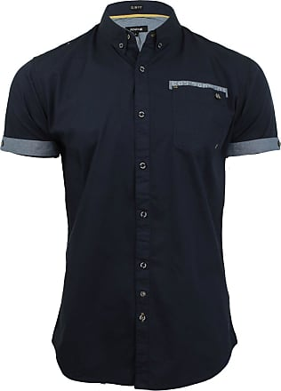 Firetrap Mens Poplin Shirt Lanover Short Sleeved - Slim Fit (Navy) S