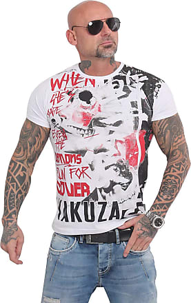 Yakuza Mens Run for Cover Allover T-Shirt - White - XXXX-Large