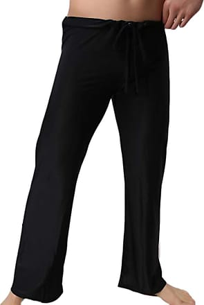 Hellomiko Men Casual Home Trousers Comfortable Soft Yoga Pants Lace-up Loose Trousers Lightweight Sleeping Pants Black