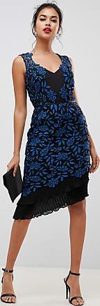 Lipsy Vestito a fascia in pizzo con fondo a volant stampato-Multicolore