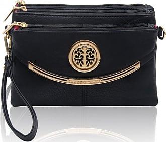 LeahWard Womens Cross Body Bags 111 (Black)