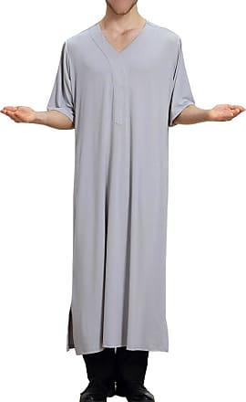 Zhuhaixmy Muslim Mens Dishdasha Islamic Kaftan Short Sleeve V-Neck Pure Color Robe Saudi Arabic Thobe Middle East Dubai Ethnic Clothing Kandoura,TH806 Grey