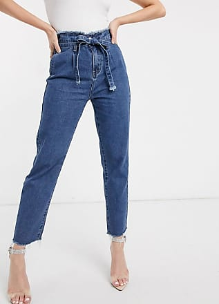 I Saw It First Boyfriend-Jeans in mittlerer Waschung mit Paperbag-Taille-Blau