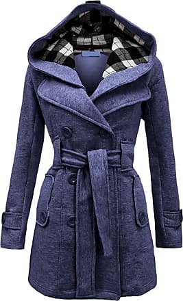 Noroze Womens Long Sleeve Belted Button Fleece Coat Size 8 10 12 14 16 18 20 22 24 26 Denim Blue