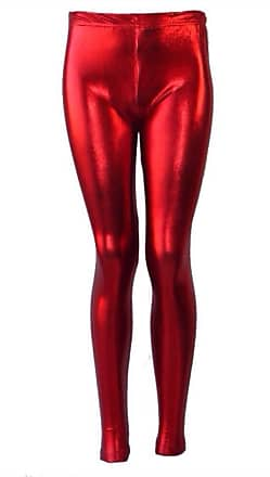 3de29010e7910 Generic Girls Kids Metallic Shiny Childrens Wet Look Footless Party Disco  Pants Leggings [Red.