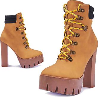 Truffle Womens Vegan Leather High Heel Ankle Chunky Worker Boots Platform Boot - Honey Tan - UK 8