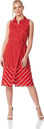 Roman Originals Women Contrast Print Shirt Dress - Ladies Summer Spring Holiday Travel Casual Everyday Workwear Office 1950s Stripe Polka Dot Skater Button Striped -