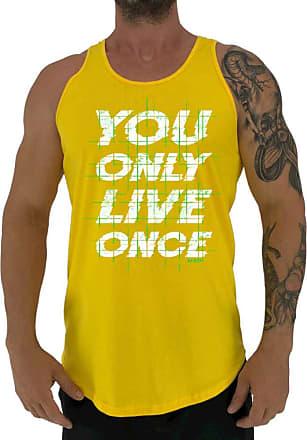 MXD Conceito Regata LongLine Masculina Cavada MXD Conceito You Only Live Once Long Line (Amarelo, GG)