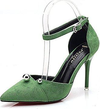 e0b0e4286b9742 Aisun Damen Elegant Spitz Zehen Geschlossen Kugel Knöchelriemchen Stiletto  Sandale Mit Schnalle Grün 37 EU