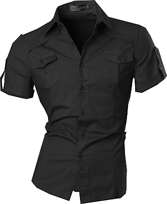 Jeansian Mens Fashion Short Sleeves Shirts Casual Slim Fit Dress Tops Pocket Office 8360 Black XXL