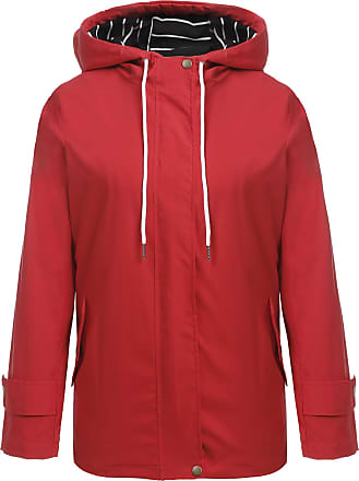Zeagoo Womens Rain Jacket Transition Jacket Windbreaker Outdoor Hooded Jacket Rain Poncho Rain Parka Waterproof Breathable - Red - X-Large