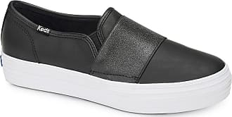 Keds Womens Triple Bandeau Leather Slip Ons Black in Size UK 6.5 M