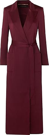 Roland Mouret Heathcoat Cutout Hammered-silk Trench Coat - Burgundy