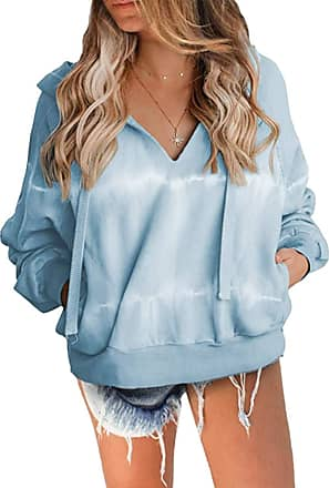 Yidarton Womens Tie Dye Hoodies Sweatshirts V Neck Drawstring Jumper Casual Long Sleeve Pullover Hooded Tops