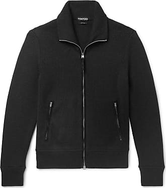 Tom Ford Suede-trimmed Ribbed Wool Zip-up Cardigan - Black
