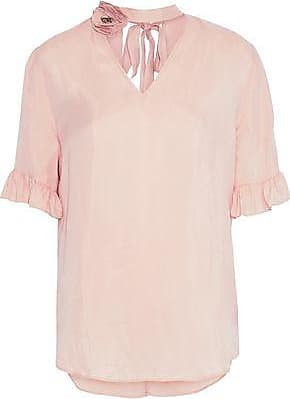 90e3177c1c52d9 Sandro Sandro Woman Embellished Cutout Washed-twill Top Blush Size 3
