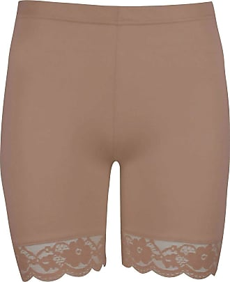 Be Jealous Oops Outlet Womens Lace Trim Jersey Gym Bike Cycling Hot Pants Tights Shorts Plus Size (US 20/22) Mocha
