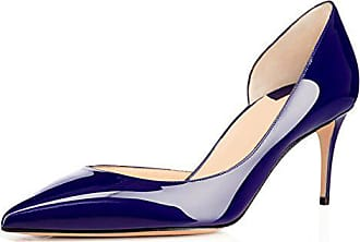 64929b48c7e220 EDEFS Damen Lack Schuhe Cut-Out Pumps Kitten Heels Spitz Pumps Blau Größe  EU36